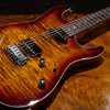 T's Guitars DST DX22 Tiger Eye Smoked Burst - Roasted Figured Maple Neck